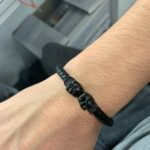 Black Genuine Leather Silver Twin Mens Skull Jewelry Bracelet photo review